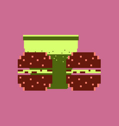 pixel icon in flat style burgers and a glass of vector image