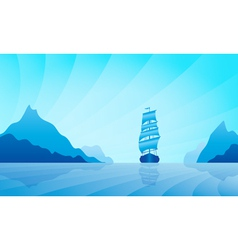 Sailing ship on skyline vector image