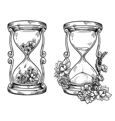 Set 2 vintage sand hourglasses with flowers vector