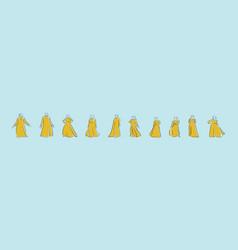 Set abaya cartoon icon design template vector