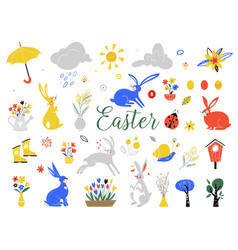 set animals spring hand drawn flowers vector image