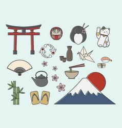 set japanese symbols vector image