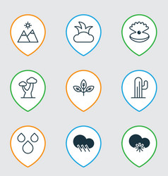 set of 9 nature icons includes bush sprout vector image