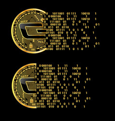set of crypto currency dash golden symbols vector image