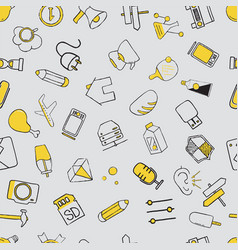 set of diverse items and equipment doodle icons vector image