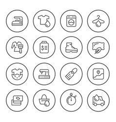 set round line icons of laundry vector image