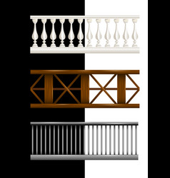 Set stone wooden and metal railings isolated vector