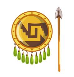 Shiny round shield and sharp spear mayan vector