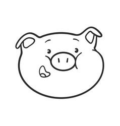 Smiling emoji pig for coloring book vector