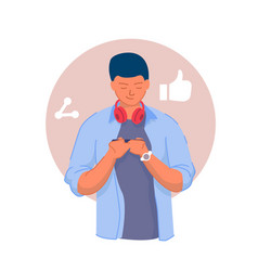 Social network connection young man texting vector