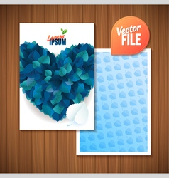 Spring backgroundcard with blue leaf heart vector image