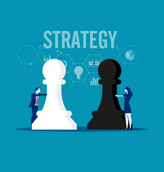 Strategy business team holding chess figure vector