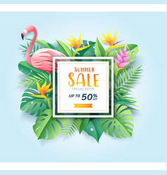 summer sale card with pink flamingo on tropical vector image