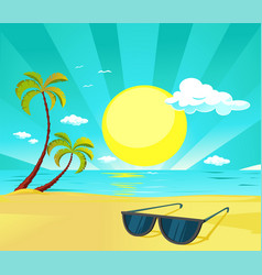 sun glasses on tropical beach with palm tree vector image