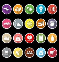 Supply chain and logistic flat icons with long vector image