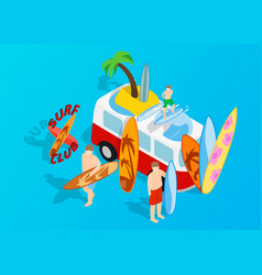 surfing clip art isometric style vector image