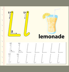 Tracing alphabet template for letter l vector