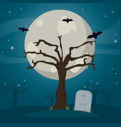 Tree with bats and stone tablet in the cemetery vector