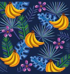 Tropical garden with banana cluster vector