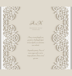 Vintage frame with cutout lace borders vector