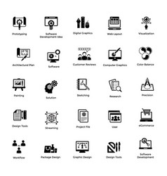 web and graphic designing glyph icons set 1 vector image
