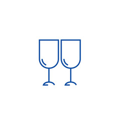 wine glasses winery line icon concept wine vector image
