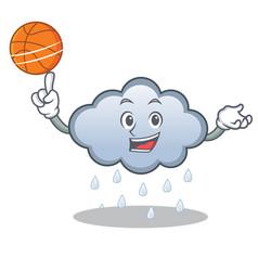 With basketball rain cloud character cartoon vector