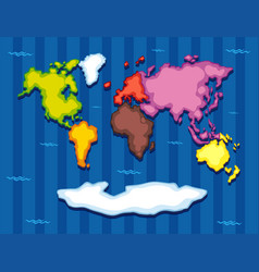 World map with seven continents vector