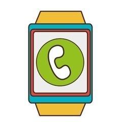 yellow square watch with shopping and media icon vector image