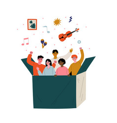young people are gathered in one box cartoon vector image