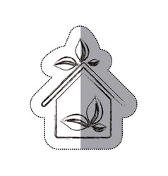 contour sticker eco houese with leaves icon vector image vector image