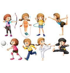 Girls doing different kinds of sport vector image vector image
