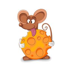 happy mouse cartoon - bitten vector image