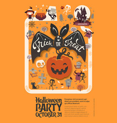 holiday happy halloween flyer template with funny vector image