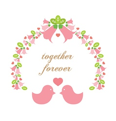 Love Birds With A Wreath vector image vector image
