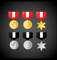 military medals golden and silver medal icons vector image