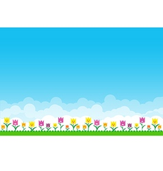 Nature background with green grass and smile vector image vector image