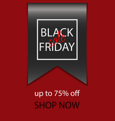 black friday sale banner with realistic ribbon vector image