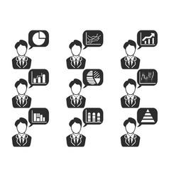 Businessman with statistics symbol in speech vector