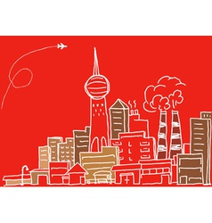 Hand-drawn modern city sketch vector
