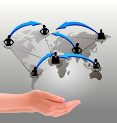 Hands holding social network vector image vector image