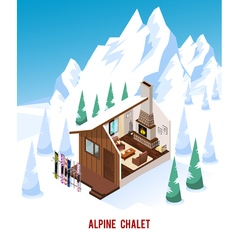 Isometric Chalet With Fireplace In Mountains vector image vector image