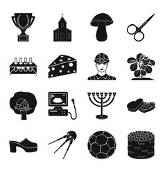 medicine farm sport and other web icon in black vector image