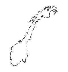 norway map of black contour curves of vector image vector image