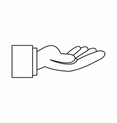 Outstretched hand gesture icon outline style vector image vector image