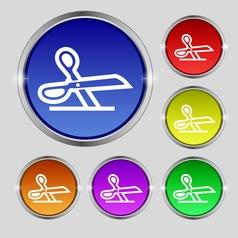 scissors icon sign Round symbol on bright vector image