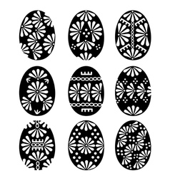 Set of Black Easter Eggs with Patterns vector image