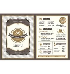 Vintage Frame restaurant menu design vector image vector image