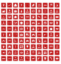 100 favorite work icons set grunge red vector image vector image