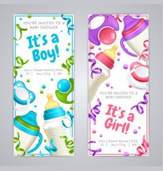 Baby shower vertical banners vector